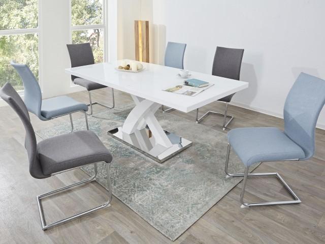 <p>Essgruppe bestehend aus Tisch in Hochglanz Wei&szlig;, 140-180x90x76cm, mit Einlageplatte und Polsterschwingst&uuml;hlen, Webstoff, Gestell Chrom.</p>