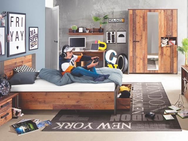 <p>Jugendzimmer in Old Wood Vintage kombiniert mit Betonoptik dunkelgrau, Zusammenstellungsm&ouml;glichkeiten nach gro&szlig;em Typenplan.</p>