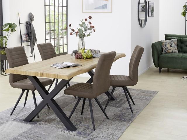 <p>Essgruppe bestehend aus Tisch, Tischplatte MDF Wildeiche, Baumkante 5cm, BHT 180x76x100cm und 4 St&uuml;hlen, 360&deg;drehbar.</p>