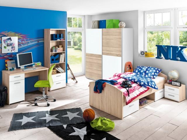 <p>Jugendzimmerprogramm in Nachbildung Sonoma Eiche/Weiss, gro&szlig;er Typenplan, viele Gestaltungsm&ouml;glichkeiten.</p>