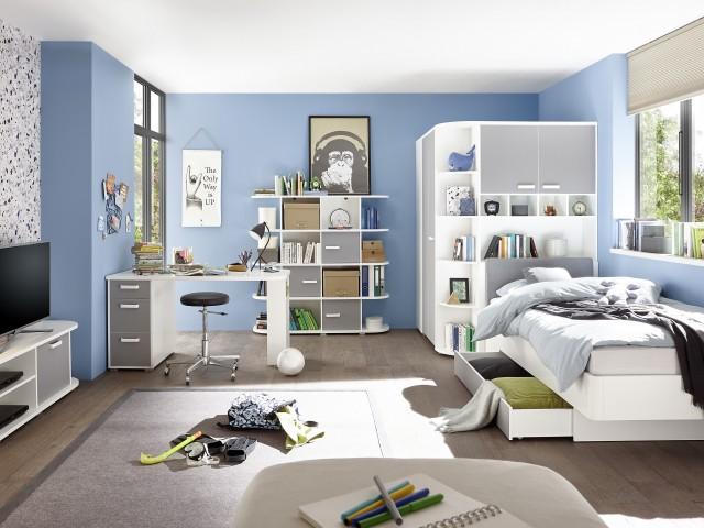 <p>Jugendzimmer in Dekorfolie Wei&szlig;/Arktisgrau, Auswahl nach Typenplan.</p>
