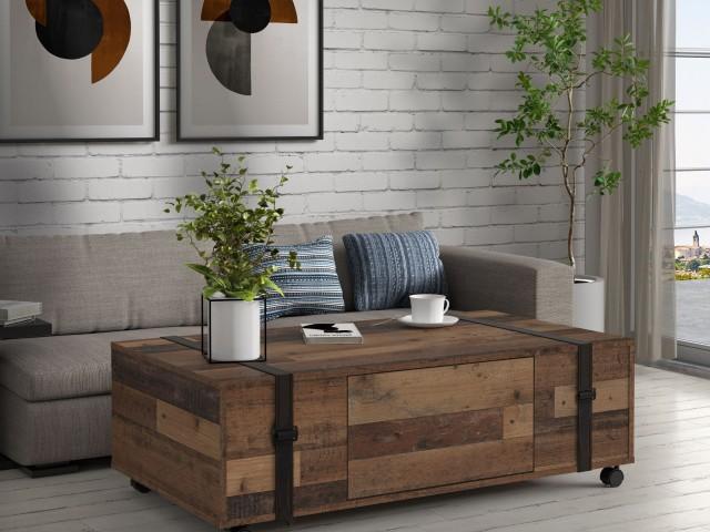 <p>Couchtisch in Nachbildung Wood Vintage, mit Rollen, BHT 110x31,5x60cm.</p>