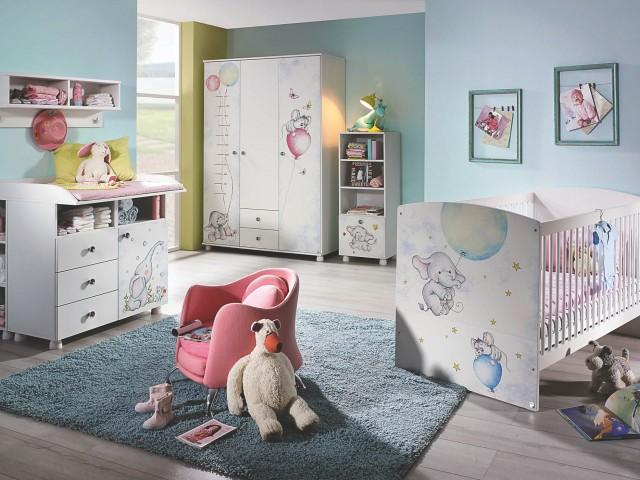 <p>Babyzimmer in Alpinwei&szlig&#x3B; mit Absetzungen in Printdekor &quot&#x3B;Elefant-Maus&quot&#x3B;, gro&szlig&#x3B;er Typenplan.</p>