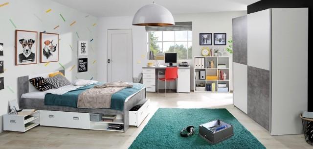 <p>Jugendzimmer in Nachbildung Beton/Wei&szlig;, bestehend aus Funktionsbett, Kleiderschrank und Schreibtisch.</p>