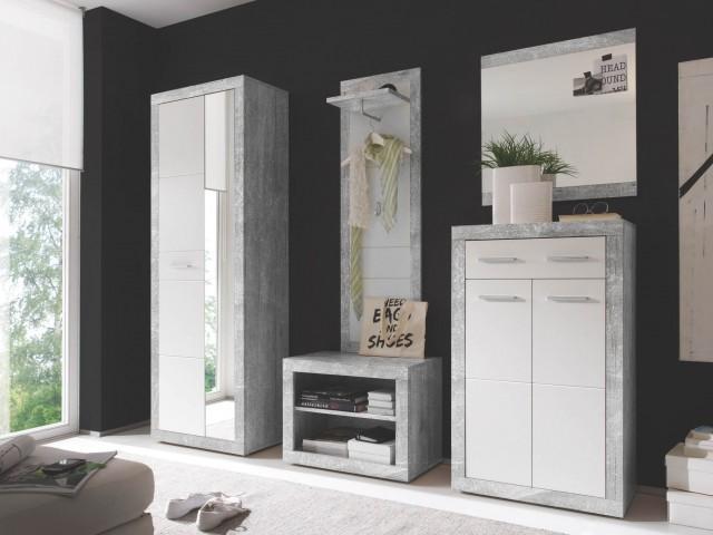 <p>Garderoben-Set 5-tlg.in Beton Nachbildung /Weiss Glanz, bestehend aus: Hochschrank, Paneel, Spiegel, Schuhkommode und Bank.</p>