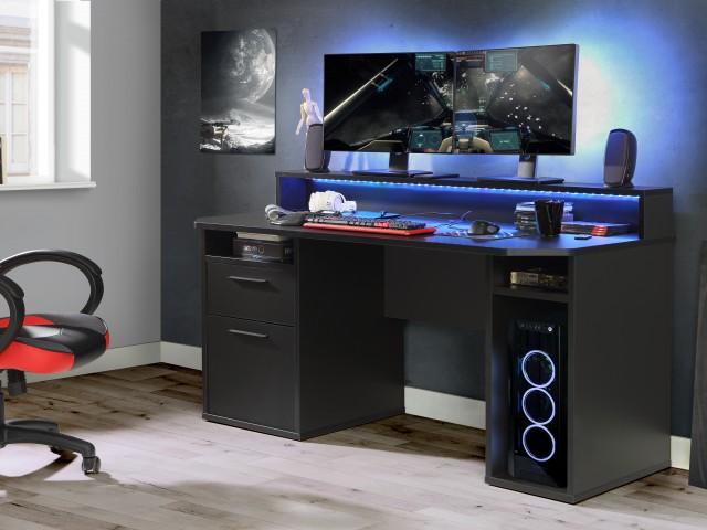 <p>Gamer-Schreibtisch in Schwarz matt, BHT 160x91x72cm, mit 1 T&uuml;r und 1 Schublade.</p>