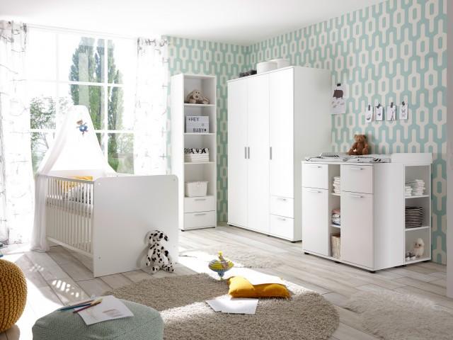 <p>Babyzimmer - Set 3-tlg., Dekorfolie Wei&szlig;, bestehend aus Kleiderschrank, Wickelkommode mit Aufsatz und Babybett 70x140cm.</p>