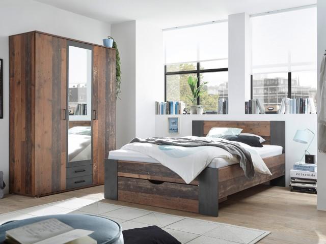 <p>Schlafzimmer in Dekorfolie Old Style dunkel kombiniert mit Betonoxid.</p>