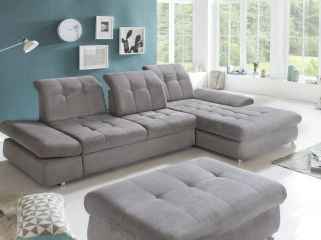 <p>Ecksofa inklusive Liegefunktion, mit verstellbaren Armlehnen und Sitztiefenverstellung, Stellfl&auml;che 324x190cm, Liegefl&auml;che 235x145cm</p>