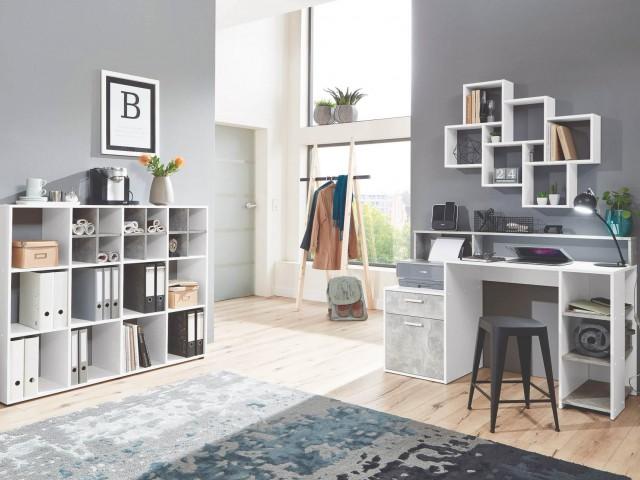 <p>Schreibtisch in Nachbildung Beton/Weiss, BHT 139x92x54cm</p>